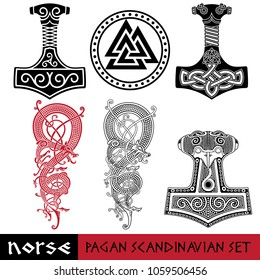 Scandinavian pagan set - Thors hammer - Mjollnir, Odin sign - Valknut and world dragon Jormundgand. Illustration of Norse mythology, isolated on white, vector illustration