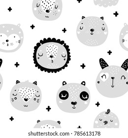 Scandinavian pattern with animals, Monochrome art, black and white color, nordic style