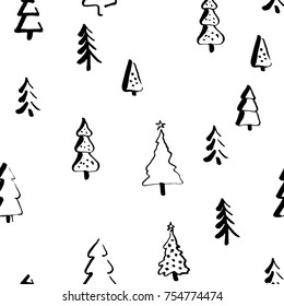 Scandinavian pattern with fir trees 2018. Seamless winter patterns, hand drawn in black ink. Perfect for gift wrapping or printing on fabric. Christmas pattern for festive decoration