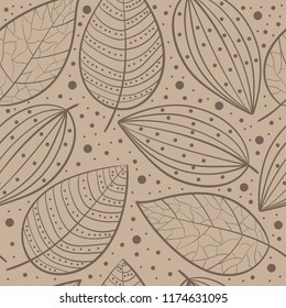 Scandinavian pattern foliage leafs lace doodle,cocoa coffee brown for background,web design,package,textile,decor,template,inventation cards,personal