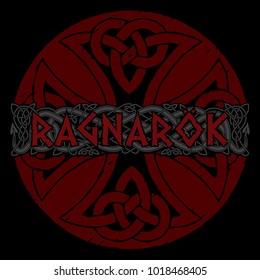 Scandinavian pattern - Ragnarok. Illustration of Norse mythology, isolated on white, vector illustration