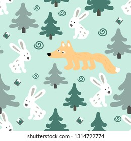 Scandinavian pattern simple with white hares, Fox and Christmas trees on a light background. For textile, fabric, background, Wallpaper, wrapping paper, Christmas holiday, new year.