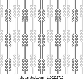 Scandinavian pattern with stylized fir and pine trees. Geometric linear background. Print for textile or Christmas wrap paper. Vector seamless repeat.