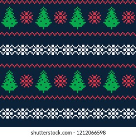Scandinavian patterns, pixel seamless pattern. Green firs, red snowflakes and zigzags