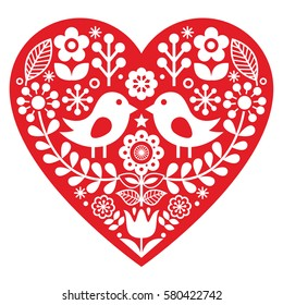 Scandinavian red folk art pattern with birds and flowers -  Valentine's Day, love concept
