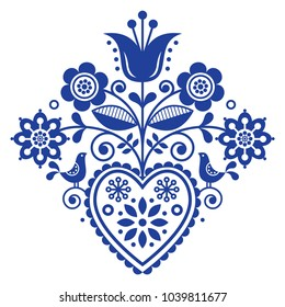 Scandinavian retro folk art floral, vector design in navy blue, Nordic pattern with birds and flowers.   Traditional cute ornament - Scandi style, old-fashioned look