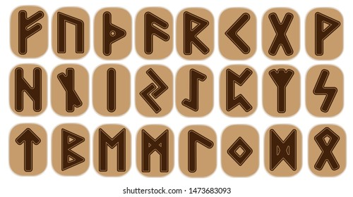Scandinavian runes brown letters on white background.