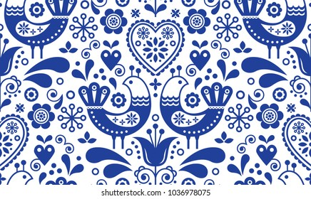 Scandinavian seamless folk art pattern with birds and flowers, Nordic floral design, retro background in navy blue.  Retro floral background inspired by Swedish and Norwegian traditional embroidery
