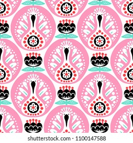 Scandinavian seamless folk art pattern with cute birds and flowers, Nordic floral design, retro background in ethnic colors. Retro background inspired by Swedish and Norwegian traditional embroidery