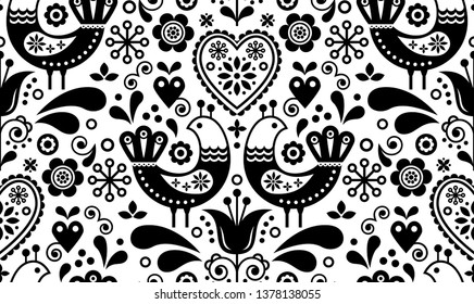 Scandinavian seamless folk art pattern with birds and flowers, Nordic floral design, retro background in black and white. Retro monochrome floral background inspired by Swedish and Norwegian art
