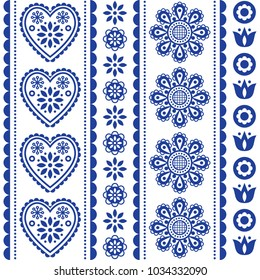 Scandinavian seamless folk art vector pattern with flowers and hearts, Nordic ornament design - long stripes Traditional floral navy blue background, retro style inspired by embroidery from Sweden