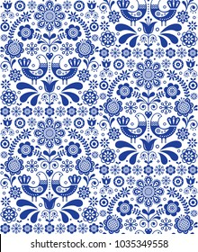 Scandinavian seamless folk art vector pattern, floral repetitive background with birds and flowers, navy blue ornament.  Decorative floral ethnic wallpaper, retro textile design on white background, f