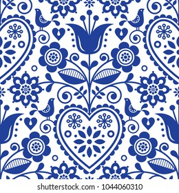 Scandinavian seamless folk art vector pattern, floral navy blue repetitive design, Nordic ornament with birds, hearts and flowers.  Retro style decoration, Scandi endless background perfect for textil