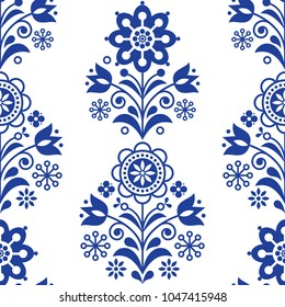 Scandinavian seamless folk art vector pattern, floral navy blue repetitive design, Nordic ornament with flowers.  Retro style decoration, Scandi endless background perfect for textile design, greeting