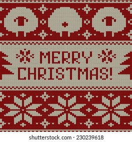 Scandinavian seamless knitted pattern with funny cute sheep, snowflakes and greeting text Merry Christmas