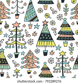 Scandinavian seamless patter. Christmas trees. Cartoon image for wallpapers, postcards, your design and business