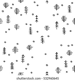 scandinavian seamless pattern of Christmas tree vector hand-drawing graphics.