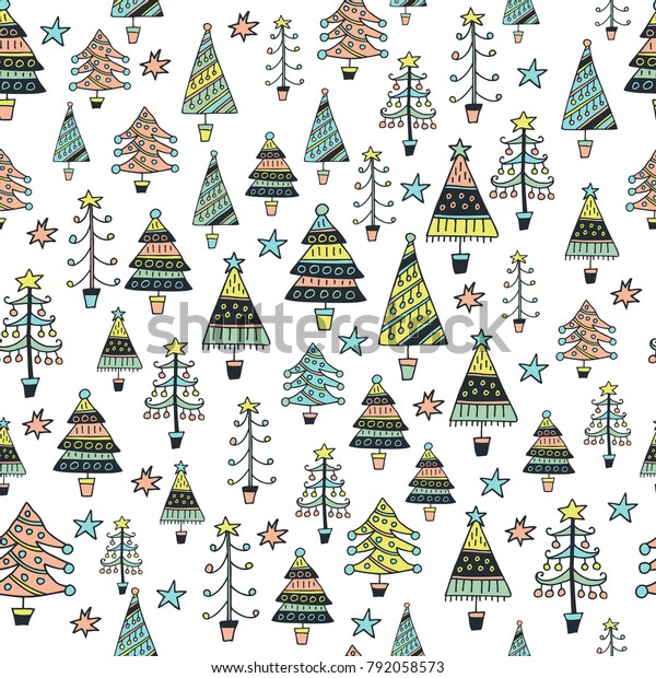 Scandinavian Seamless Pattern Christmas Trees Cartoon Stock