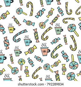 Scandinavian seamless pattern. Cups with hot drink and sweets . Cartoon image for wallpapers, postcards, your design and business