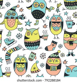 Scandinavian seamless pattern. Cute owls in winter atmosphere. Cartoon image for wallpapers, postcards, your design and business