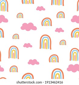 Scandinavian seamless pattern with hand-drawn rainbows, love, and clouds. Creative kids style texture for fabric, wrapping,  textile, wallpaper, apparel. Surface pattern design.