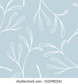 Scandinavian seamless pattern with leaf. Simple minimalistic wallpaper pattern with nature element. Seamless pattern with botanical element.