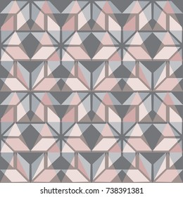 Scandinavian seamless pattern. Pastel pink and grey background. Nordic winter style. Vector illustration.