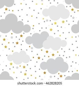 Scandinavian seamless pattern set. Gold monochrome seamless patterns. Kids background. Vector seamless baby pattern. Perfect for kids bed linen, baby cotton, kids wallpaper.