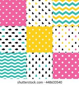 Scandinavian seamless pattern set. Newborn seamless patterns. Kids background. Vector seamless baby pattern. Perfect for kids bed linen or kids wallpaper. Bed linen baby cotton.