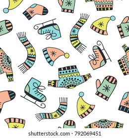 Scandinavian seamless pattern. Set of winter clothes and equipment. Cartoon image for wallpapers, postcards, your design and business