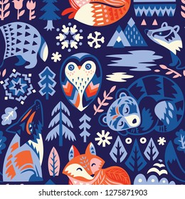 Scandinavian seamless pattern with woodland animals in the night. Christmas wrapping paper, fabric, textile, wallpaper, apparel. Vector illustration