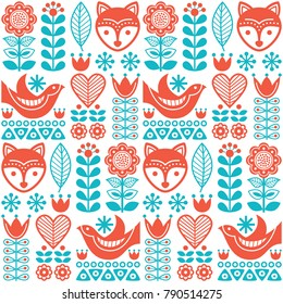 Scandinavian seamless vector folk pattern with flowers and animals inspired by Finnish art.  Vector repetitive background with flowers, foxes and birds, wallpaper in orange and turquoise