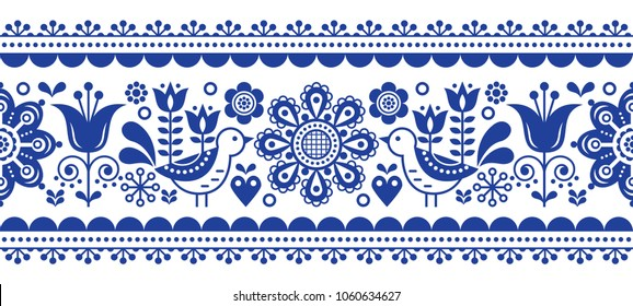 Scandinavian seamless vector pattern with flowers and birds, Nordic folk art repetitive navy blue ornament.  Retro floral background inspired by Swedish and Norwegian traditional embroidery