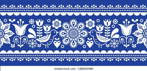 Scandinavian seamless vector pattern with flowers and birds, Nordic folk art repetitive in white on navy blue.  Retro floral background inspired by Swedish and Norwegian traditional embroidery