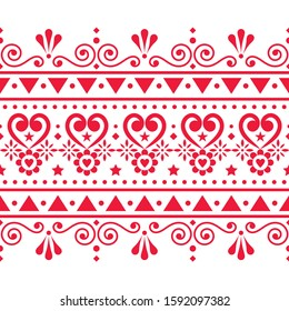 Scandinavian seamless vector pattern folk art style, repetitive cute Nordic design with hearts, flowers, swirls and geometric shapes. Floral retro textile design, cute ornamental seamless background