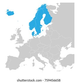 Scandinavian states Denmark, Norway, Finland, Sweden and Iceland blue highlighted in the political map of Europe. Vector illustration.