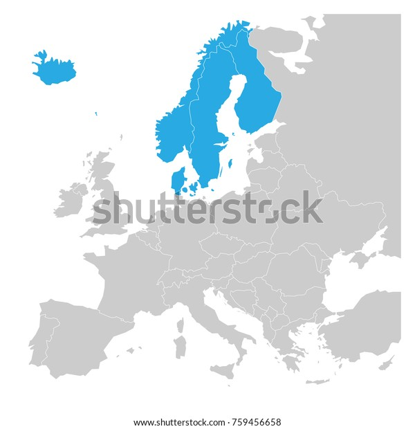 Skandinaviske Stater Danmark Norge Finland Sverige Lagervektor