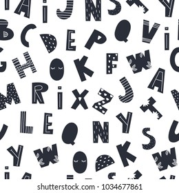 Scandinavian style alphabet. Hand drawn vector seamless pattern