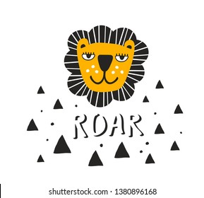 Scandinavian style children print with tropical animal. Vector illustration of funny and cute lion.