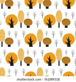 Scandinavian style cute trees seamless pattern. Black and yellow nature background. Autumn forest vector illustration. Design for textile, wallpaper, fabric.