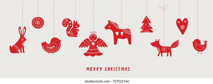 Scandinavian style hand drawn Christmas banner, background