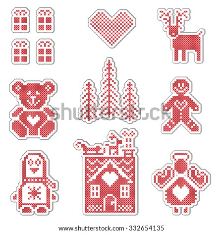Scandinavian Style Nordic Winter Red Switch Vector de stock (libre ...