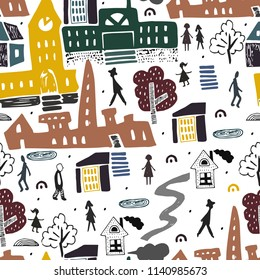 Scandinavian style pattern with city and people in it. Buildings and architecture . Traveling. City landscape. Vector illustration
