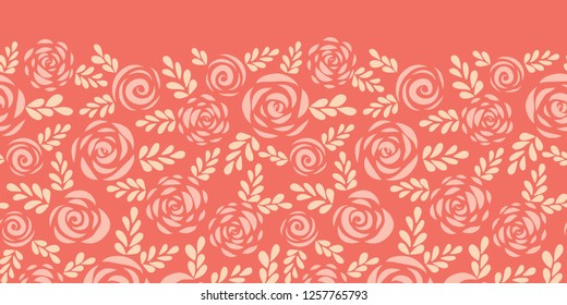 Scandinavian style roses and leaves red pink seamless vector border. Floral silhouettes. Flower pattern for Valentines, greeting card, poster, banner, frame, border, stencil for laser cutting, die cut