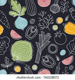 Scandinavian style seamless pattern. Linear graphic. Vegetables background. Healthy food. Vector illustration