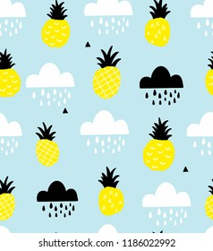 Scandinavian style seamless pattern with pineapples and rain weather. Vector artistic background for decoration.