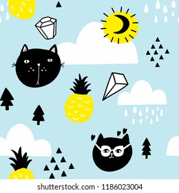 Scandinavian style seamless pattern with pineapples and cats in the sky. Vector artistic background for decoration.