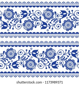 Scandinavian style seamless vector pattern with flowers, Nordic folk art repetitive navy blue ornament - horizontal stripes. Retro floral background inspired by Swedish and Norwegian embroidery