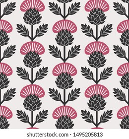 Scandinavian style thistle floral vector black and dark pink seamless pattern. Wrapping paper design.