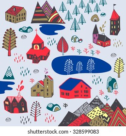 Scandinavian style. Vector illustration with Norwegian village